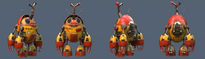 Robot Beetle Low poly Render