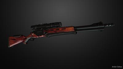 Futuristic heavy rifle with optics.rv.1
