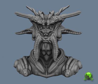 Alien pilot sculpt