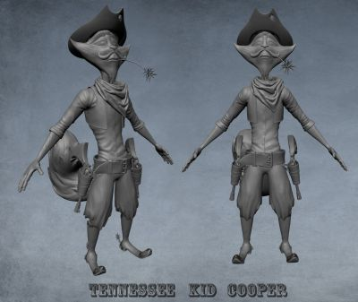 WIP sculpt Tennessee Kid cooper 01