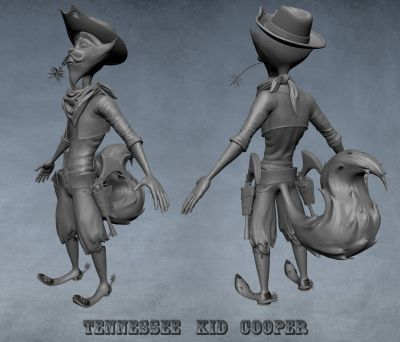 WIP sculpt Tennessee Kid cooper 02