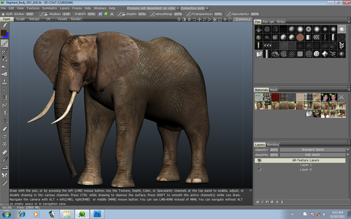NEW VIDEO 3D Coat 35 Photo Painting I Paint an Elephant Using