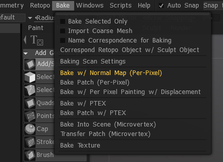 Retopo - Bake Menu